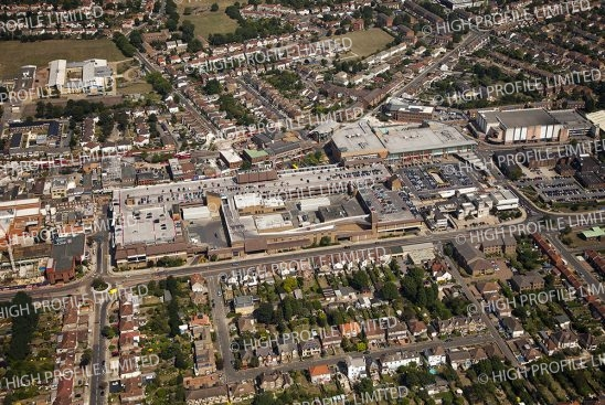 Aerial photograph of Broadway Shopping Centre