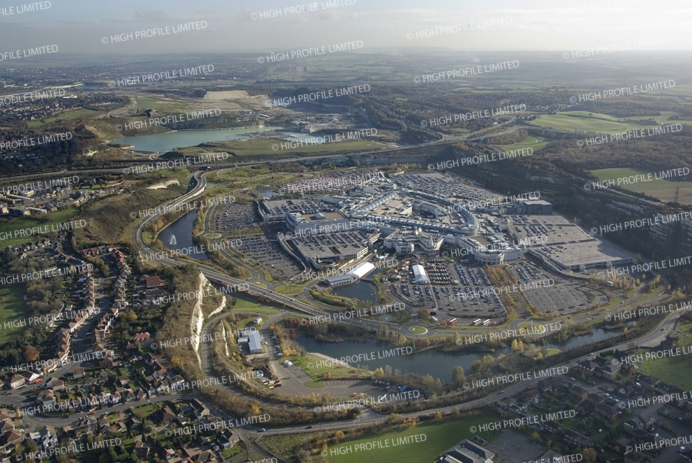 Aerial photograph of Bluewater Shopping Centre