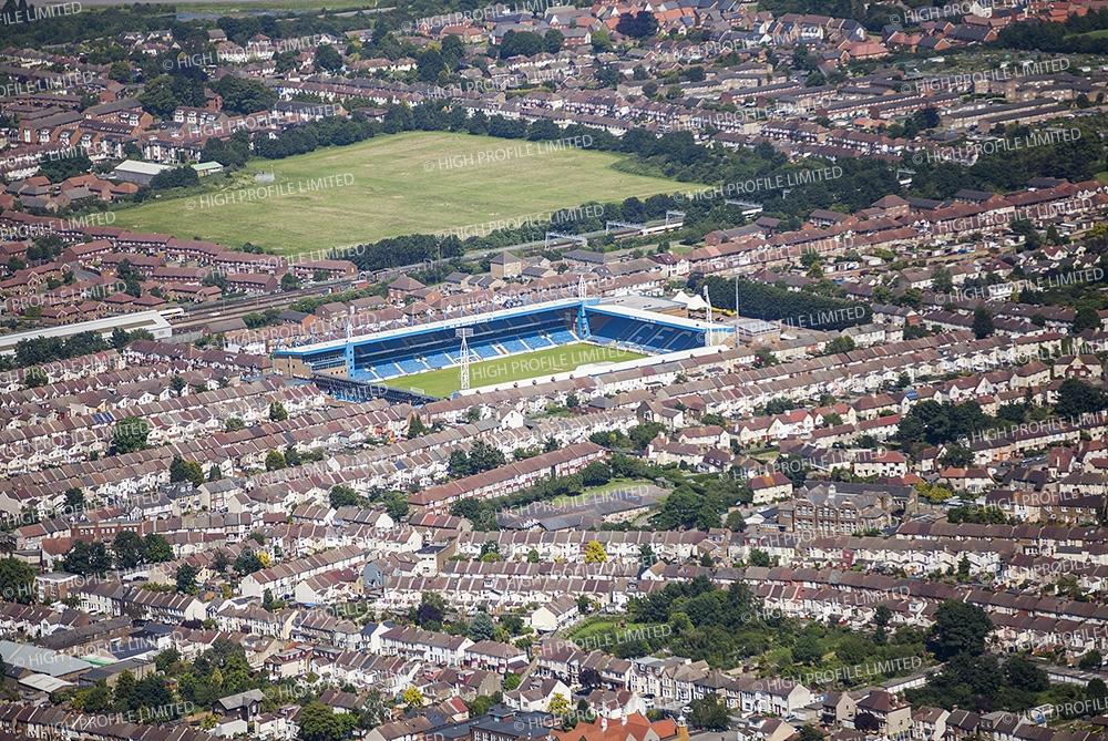 Aerial photograph of Priestfield Stadium
