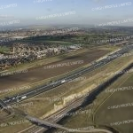 Aerial photograph of the A2 and Eurostar Rail Link