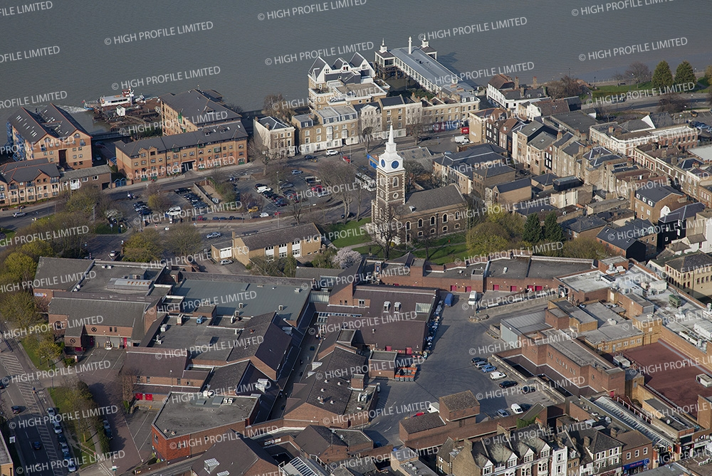 Aerial photography of St George's Church in Gravesend
