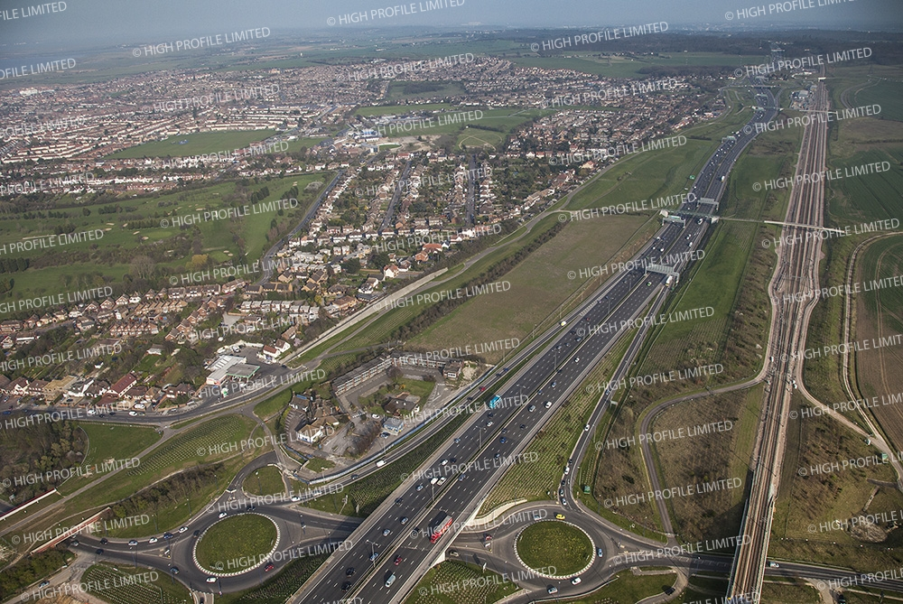 Aerial photograph of the old A2 and the Tollgate Hotel