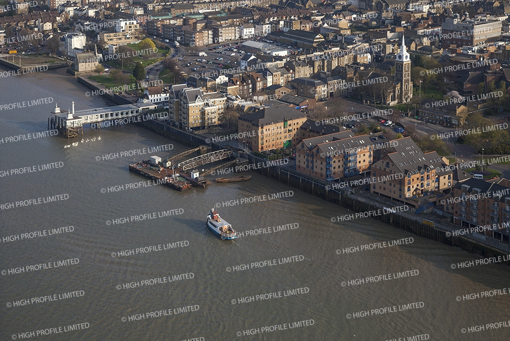 Aerial photograph of Gravesend from the River Thames