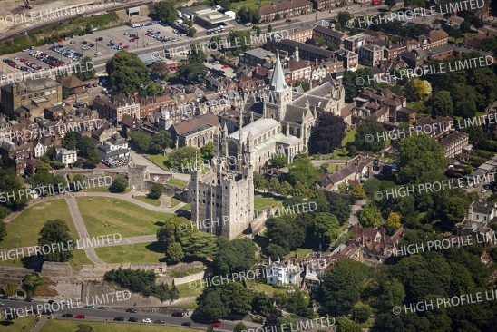 Aerial photograph of Rochester Castle and Cathedral