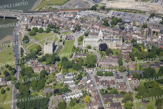 Aerial photograph of Rochester Castle & Cathedral