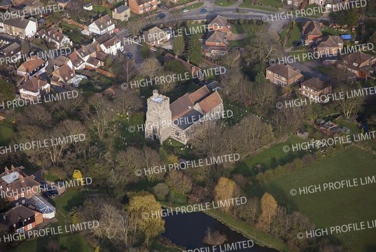 Aerial photograph of St Peter & St Paul's Church
