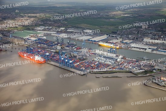 Aerial photograph of Tilbury Docks in Essex